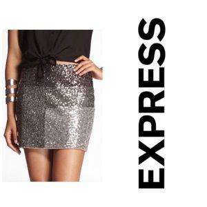 Express Silver Sequin Color Block Mini Skirt